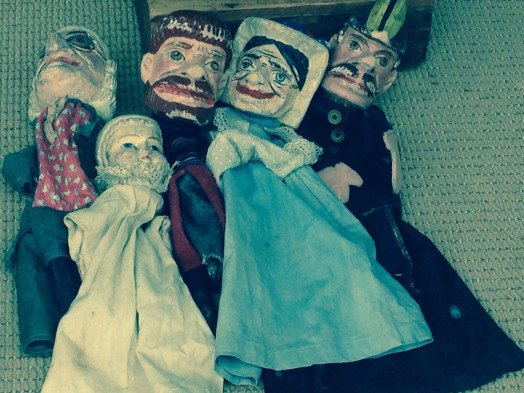 Super creepy toys as part of Wellesley Historical Society display at Faber's Rug in Wellesley Square