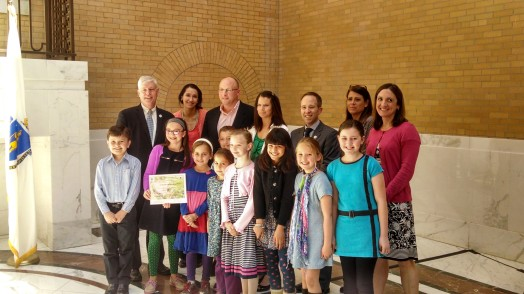 Hardy School students, supporters get green award at state house