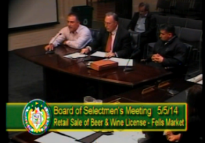 Fells Market hearing at board of Selectmen meeting