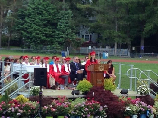 Senior class speaker Betsy Waisel imparts words of wisdom