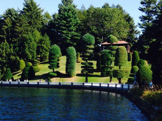 Walk around Lake Waban and admire the topiaries.