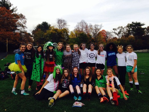Wellesley High School Junior Varsity Girls' Soccer team dressed up for its match this week