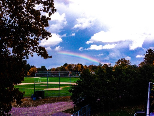 Rainbow over Wellesley High football field