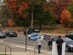Democratic candidate supporters at entrance to Wellesley Free Library
