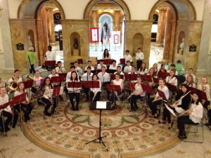 WMS 8th Grade Concert Band getting ready to perform at the State House on January 12 (Photo: Henry Platt)