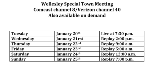 wellesley media town meeting schedule