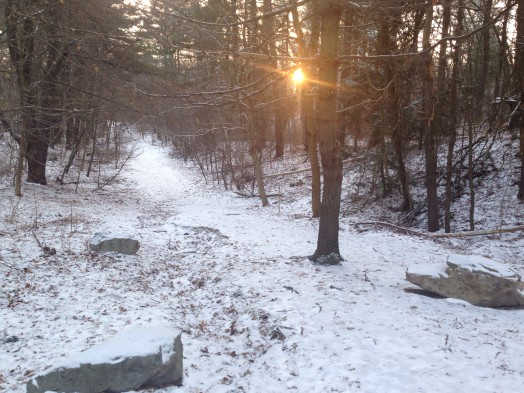 Crosstown trail at entrance to Morses Pond, winter 2015