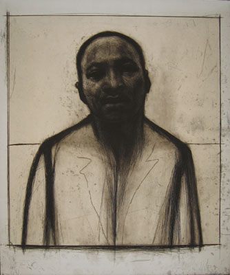 John Wilson, Martin Luther King, Jr., 2002. Etching and aquatint with chine collé, 36 x 30 in. (image & sheet).