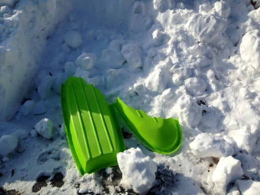 Broken sled at rec center, warren building