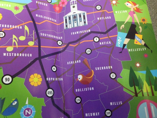 MetroWest tourism brochure map