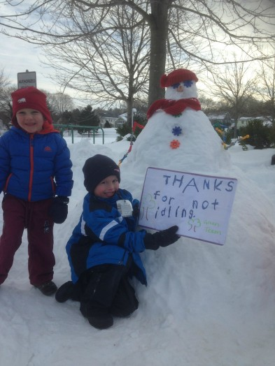 Sprague no Idling Snowman in Wellesley