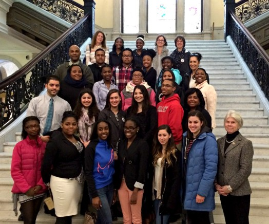METCO students and State Representative Alice Peisch on the grand staircase of the State House on METCO Lobby Day. Thanks to roving photojournalist Betsy Komjathy for the photo.