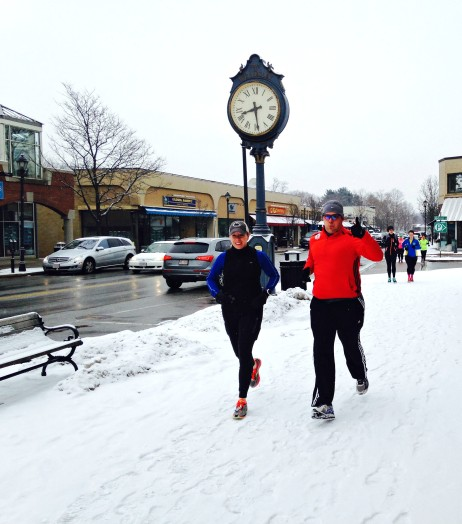 Spring snow doesn't deter runners training for the Boston Marathon.