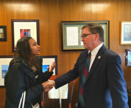 WHS Senior Katrina Kincaide lobbying State Senator Richard Ross to support the METCO program. Thanks to roving photojournalist Betsy Komjathy.