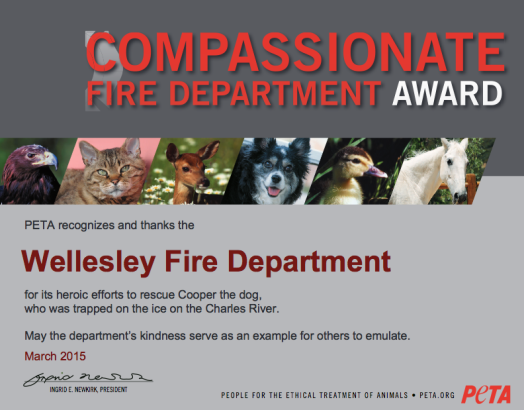 PETA award to Wellesley Fire Department