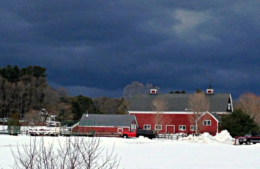 Threartening skies at Hunnewell Farm minutes before the brief St. Patrick's Day hail storm.
