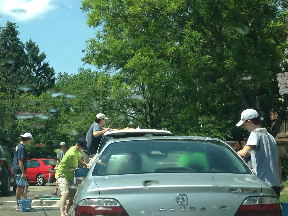 wellesley high sailing team car wash at hardy iin may 2015