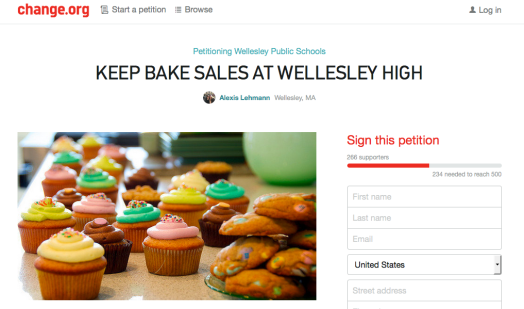 bake sale petition wellesley high
