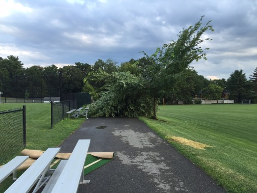 Sprague Field after storm near varsity baseball field