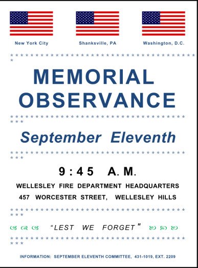 9/11 memorial 2015 wellesley