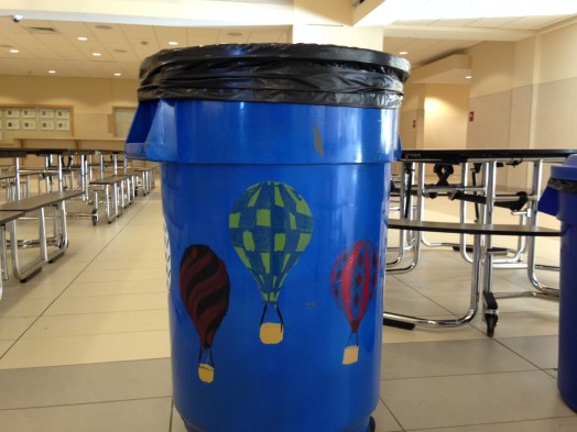 Trash cans, Wellesley High School
