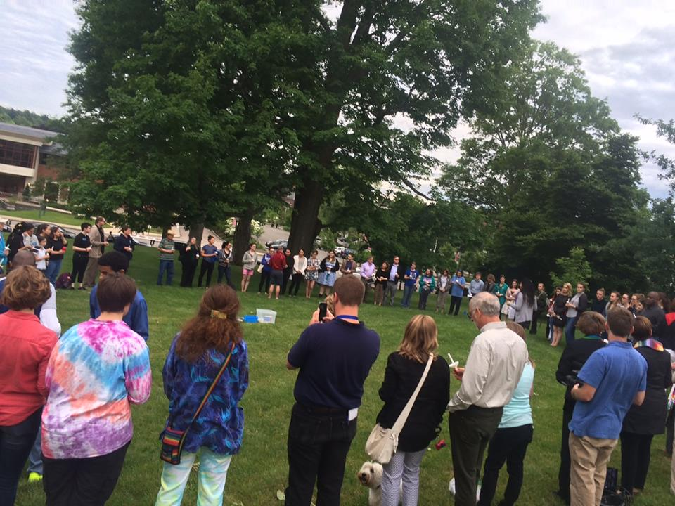 Prayer vigil on Wellesley Town Hall Green, organized by World of Wellesley