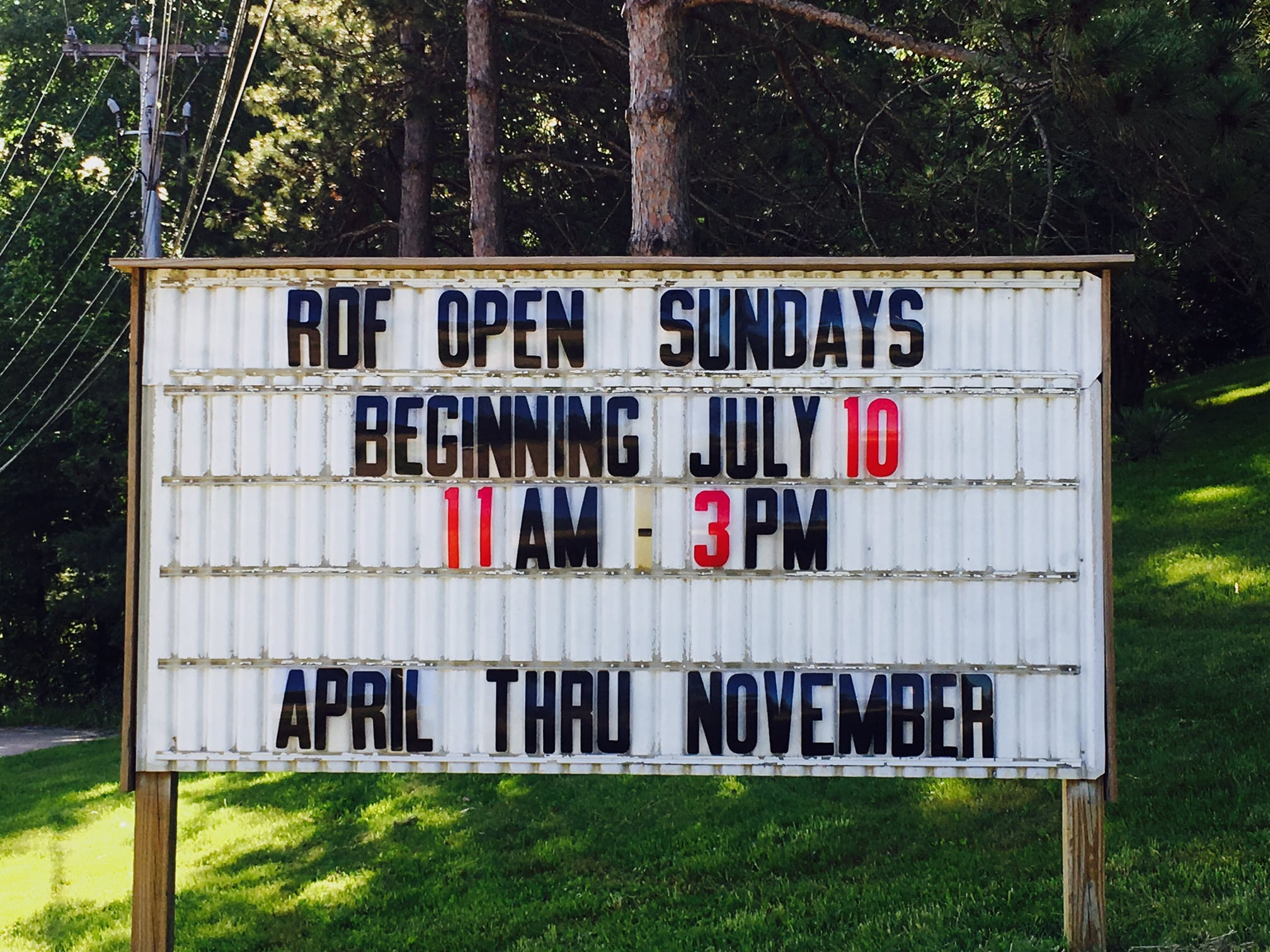 Wellesley RDF, Open Sundays