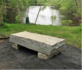 Granite slab bench at west end of State Street Pond