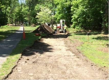 Excavation for the new path alignment between Brook Street and Cold Spring Brook