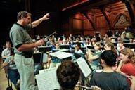 Harvard Summer Pops Band practice at Sanders Theater. Photo credit: Jon Chase/Harvard Staff Photographer