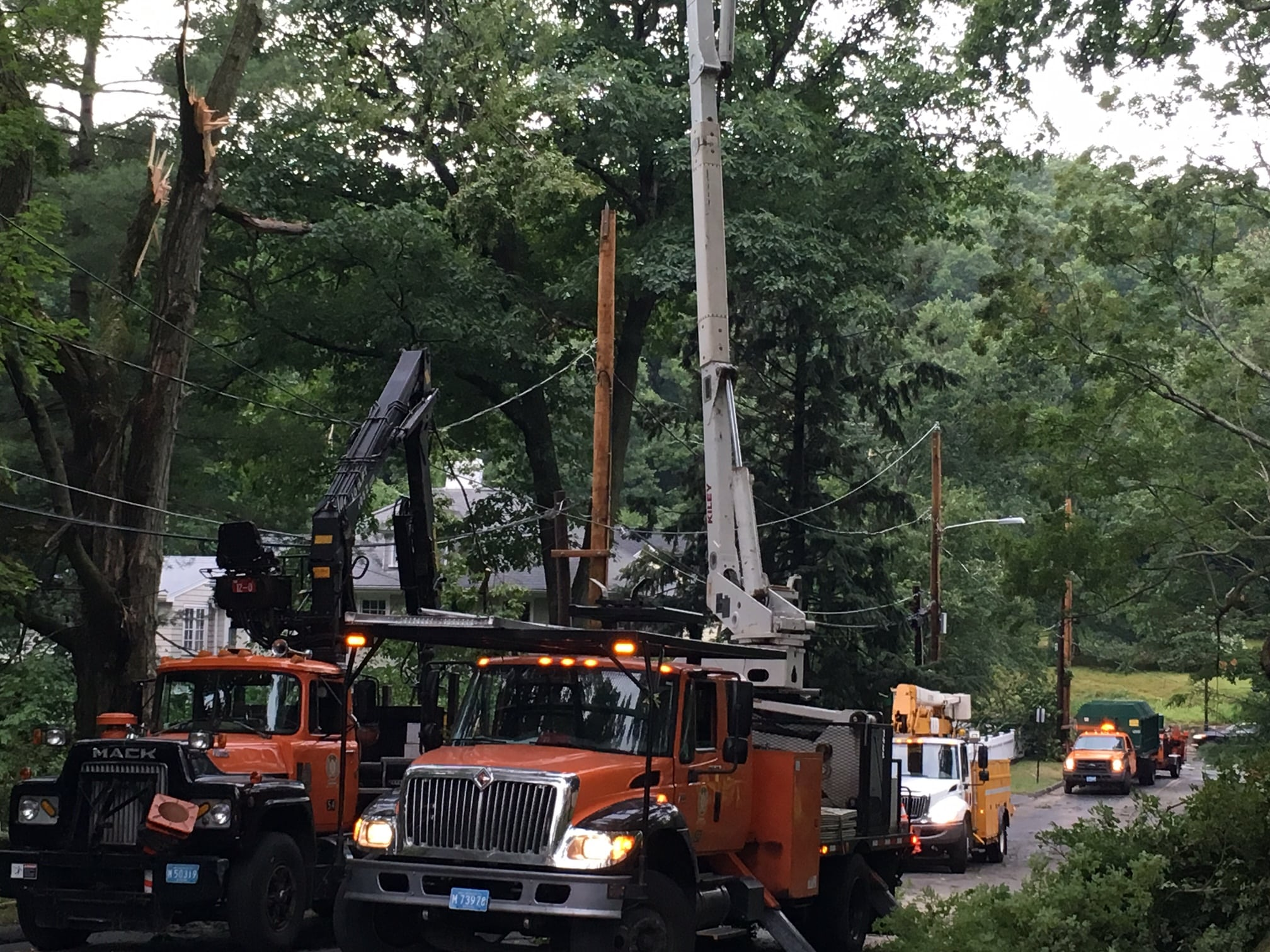 First responders were out fast, approaching the job in what looked like a triage fashion: first they cleared the roads of all tree limbs. Next, MLP crews got in there and worked restoring power. Throughout the area, the sound of chainsaws and the smell of pine permeated the air.