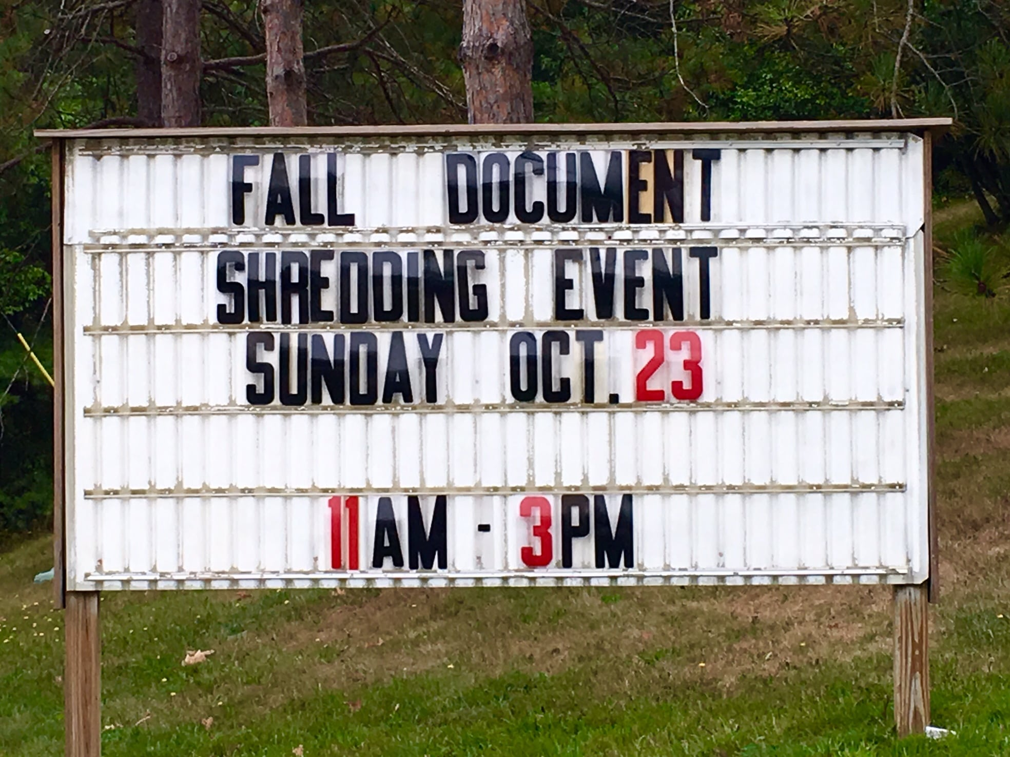 Wellesley RDF, Shredding event