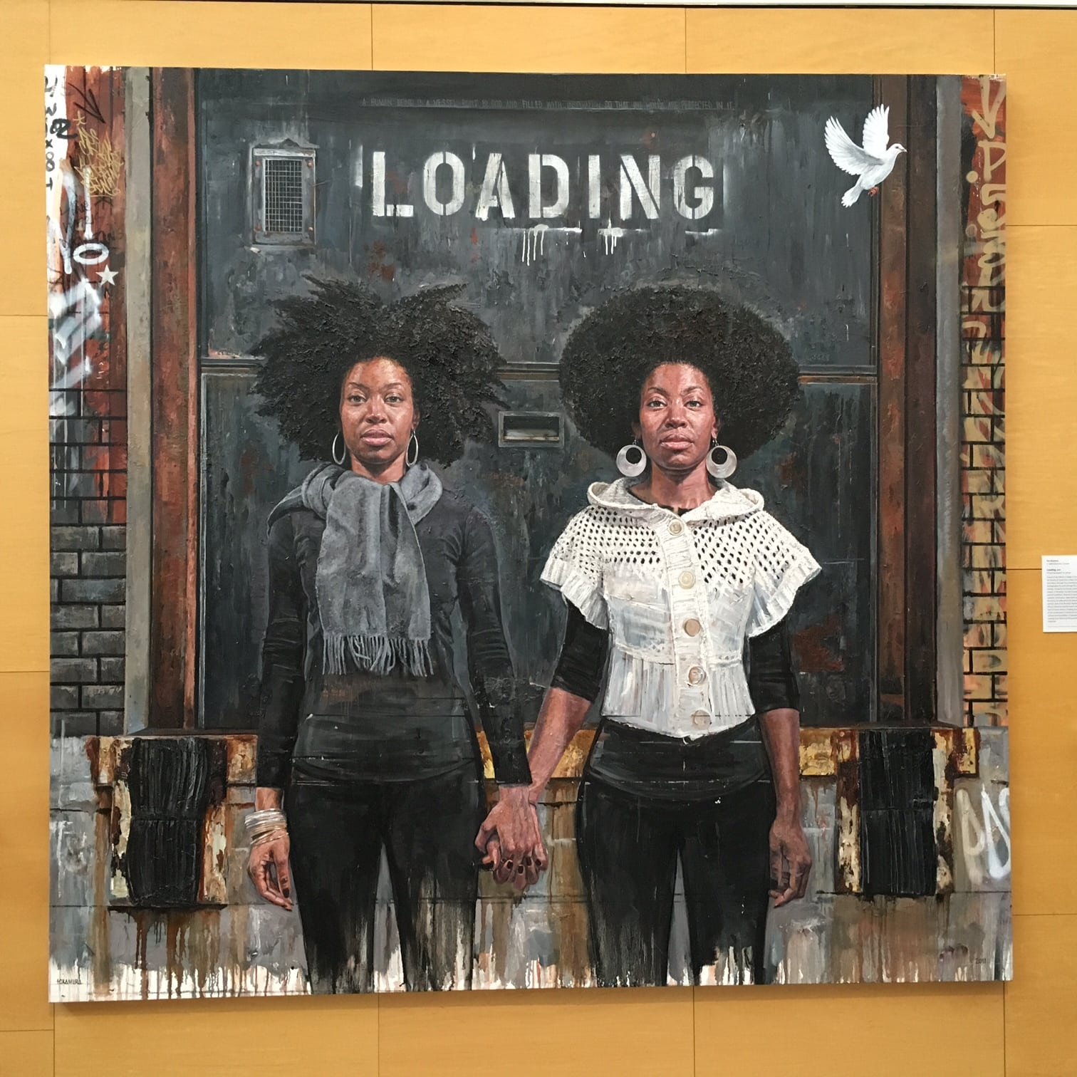 Loading was artist Tim Okamura's first painting to enter a museum collection. Like many of the works in the museum, it's been moved, but not for the better to my eye. The women used to appear larger than life and absolutely demanded attention in their previous spot. Now, on a stairway landing, they just don't grab me as forcefully.