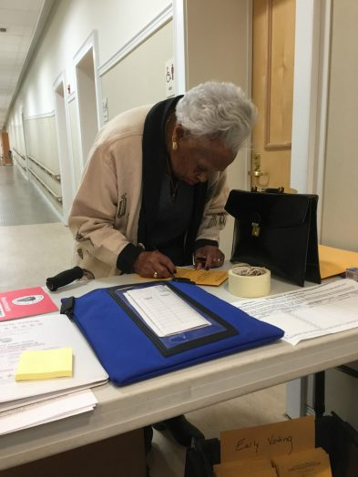 Herlda Senhouse votes early in Wellesley