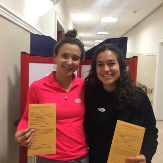 sisters Isabella and Alejandra Narvaez voting in their first presidential election