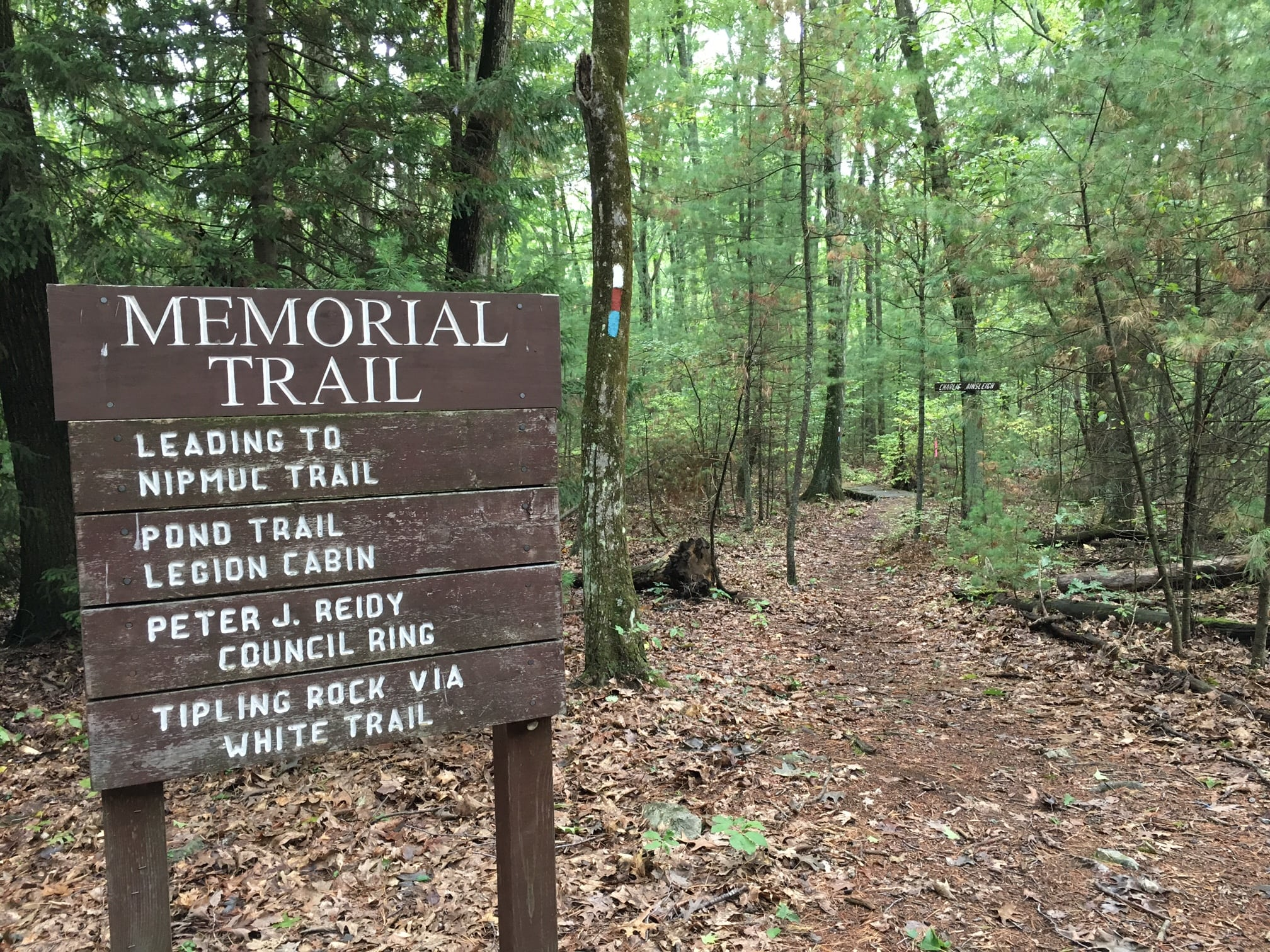 Take the Memorial Trail up to Tipling Rock. Follow the white blazes.