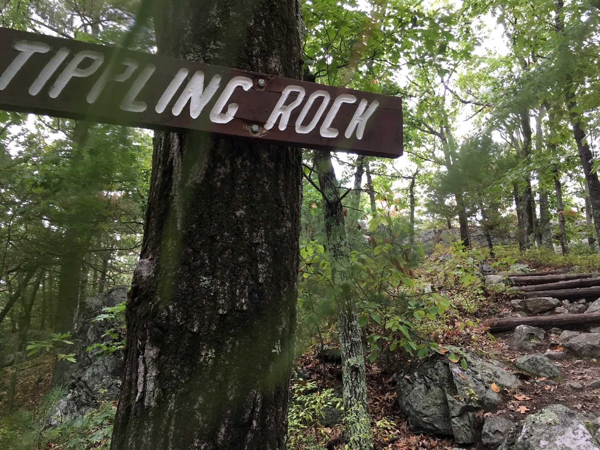 See the Tipling Rock sign. You're almost to the top.