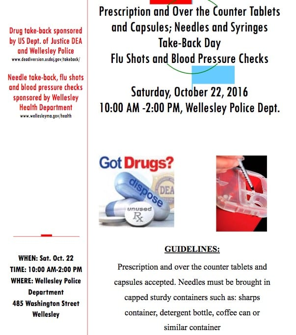 need, drug give back day wellesley police