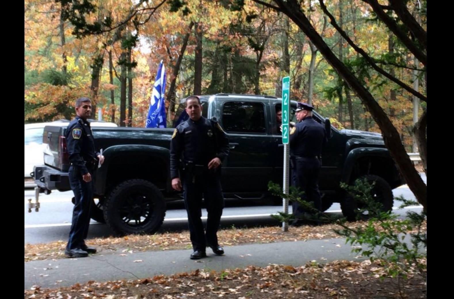 Town of Wellesley police next to the pickup truck driven through Wellesley College by two Babson students.