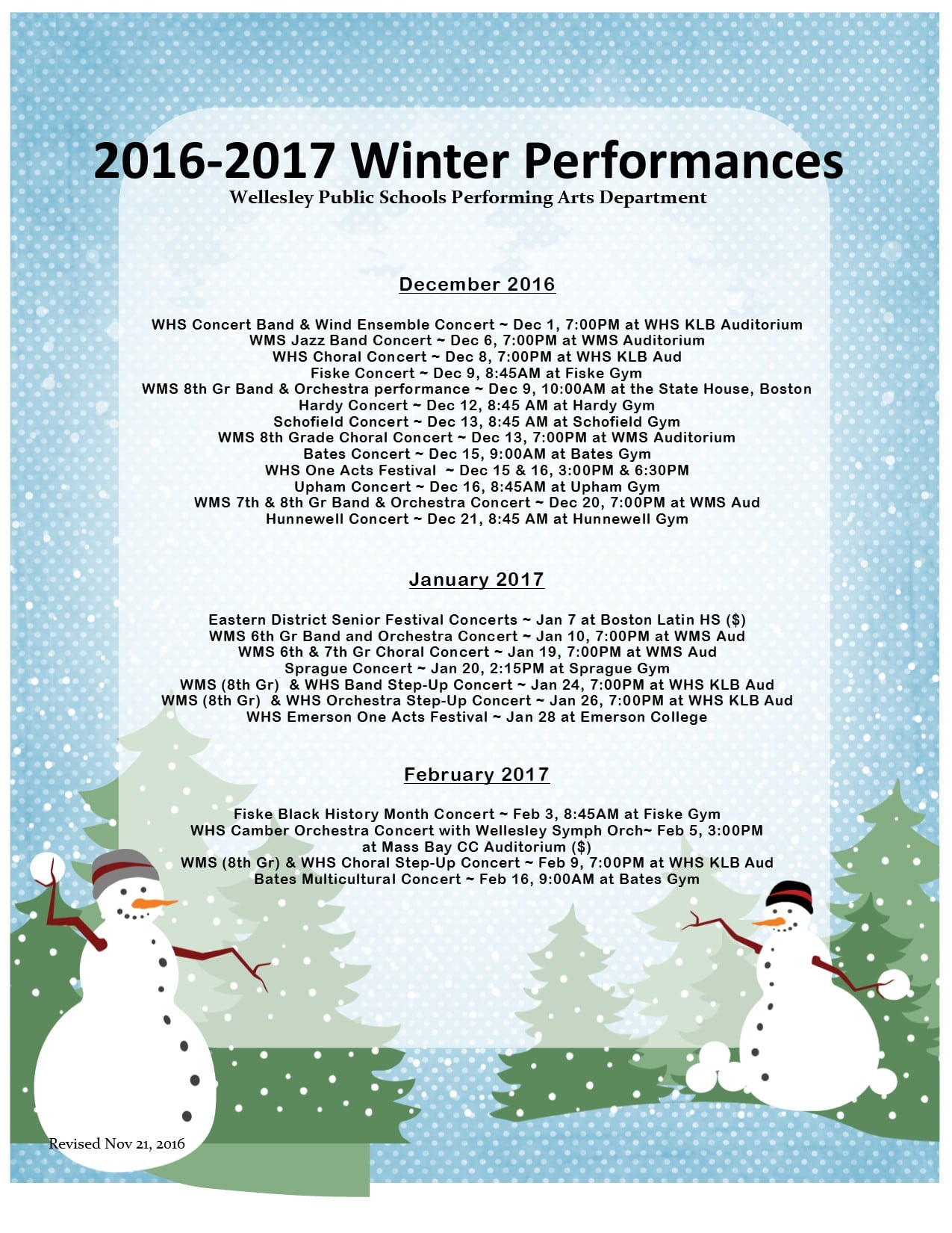 Wellesley Performing Arts schedule