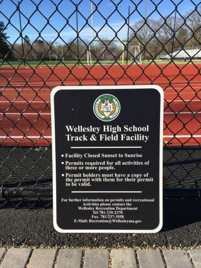 track sign at Wellesley field