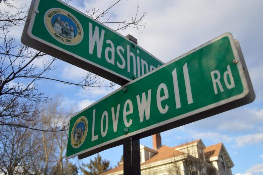 Lovewell and Washington Street signs in Wellesley