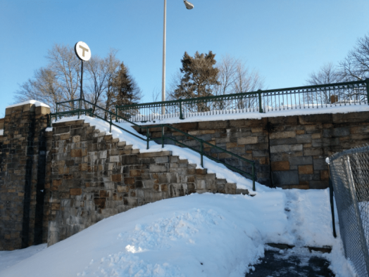 Wellesley Hills commuter rail station stairs at Cliff Road on morning of 2/14/17
