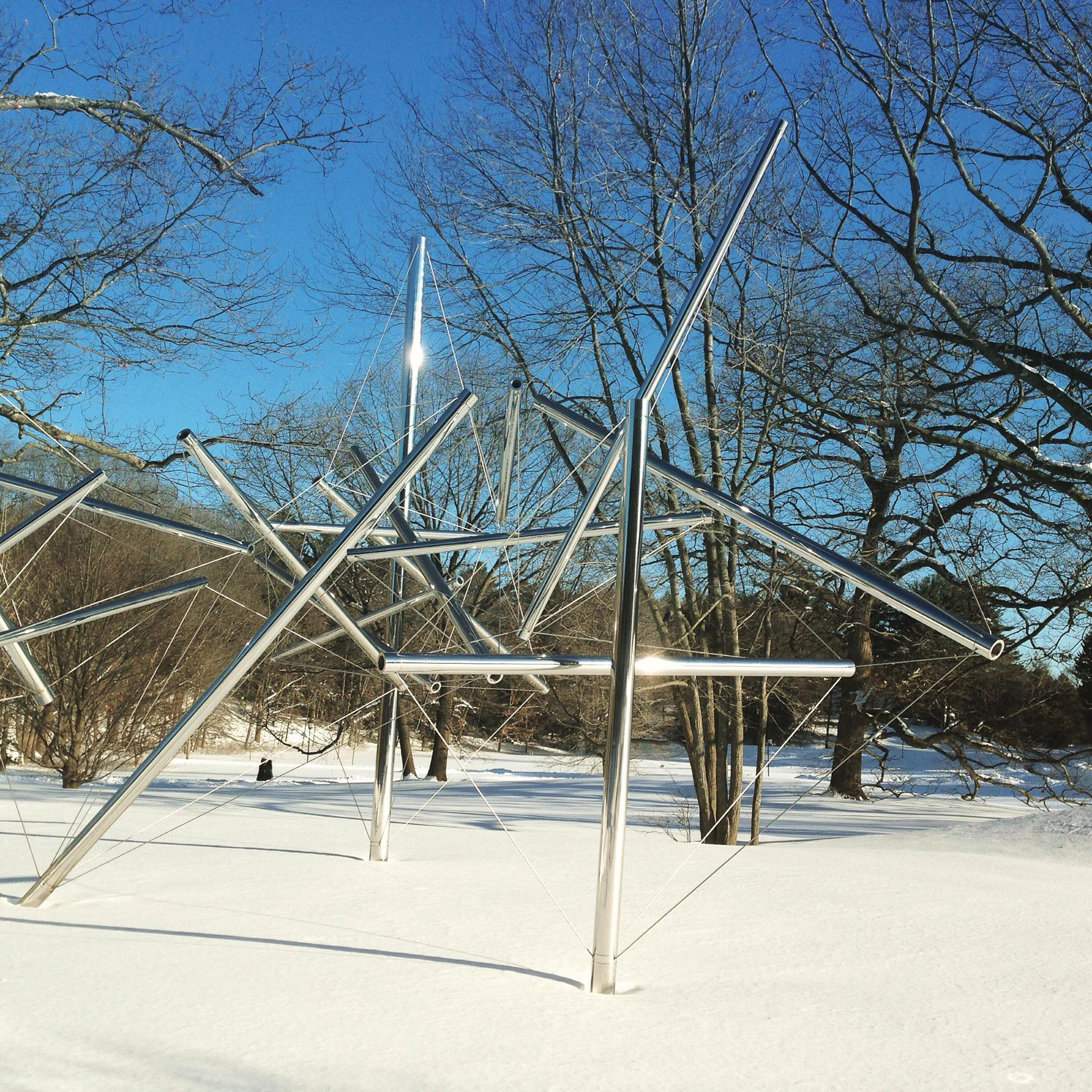 Kenneth Snelson's Mozart III sculpture at Wellesley College