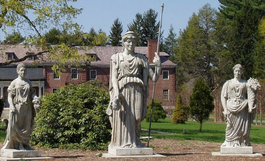 Statuary by Martin Millmore at Elm Bank Horticulture Center, of the Massachusetts Horticultural Society. These works were made in the 1860s to adorn the exterior of Horticultural Hall, Tremont St., Boston