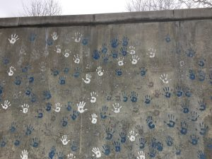 Hands wall at Bates Elementary School in Wellesley
