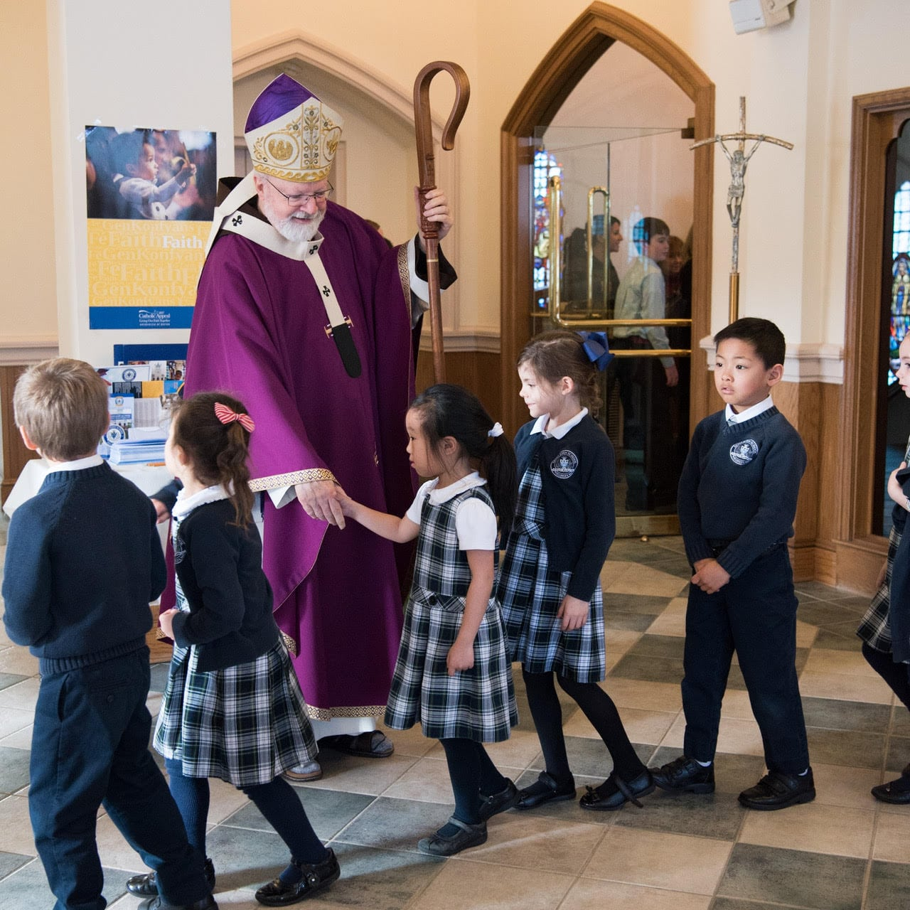 Cardinal O'Malley visits St. John School in Wellesley