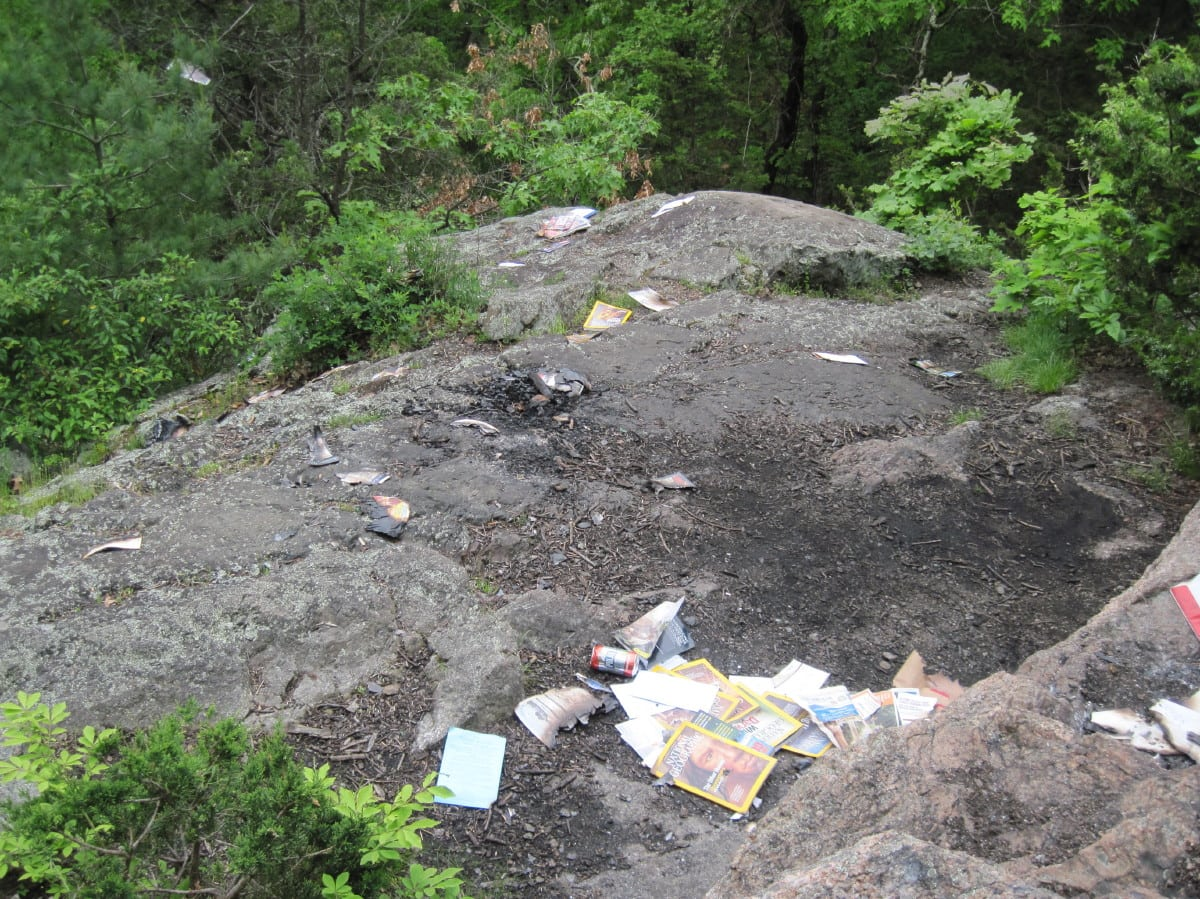 Rocky Ledges, Boulder Brook reservation, trash, Wellesley