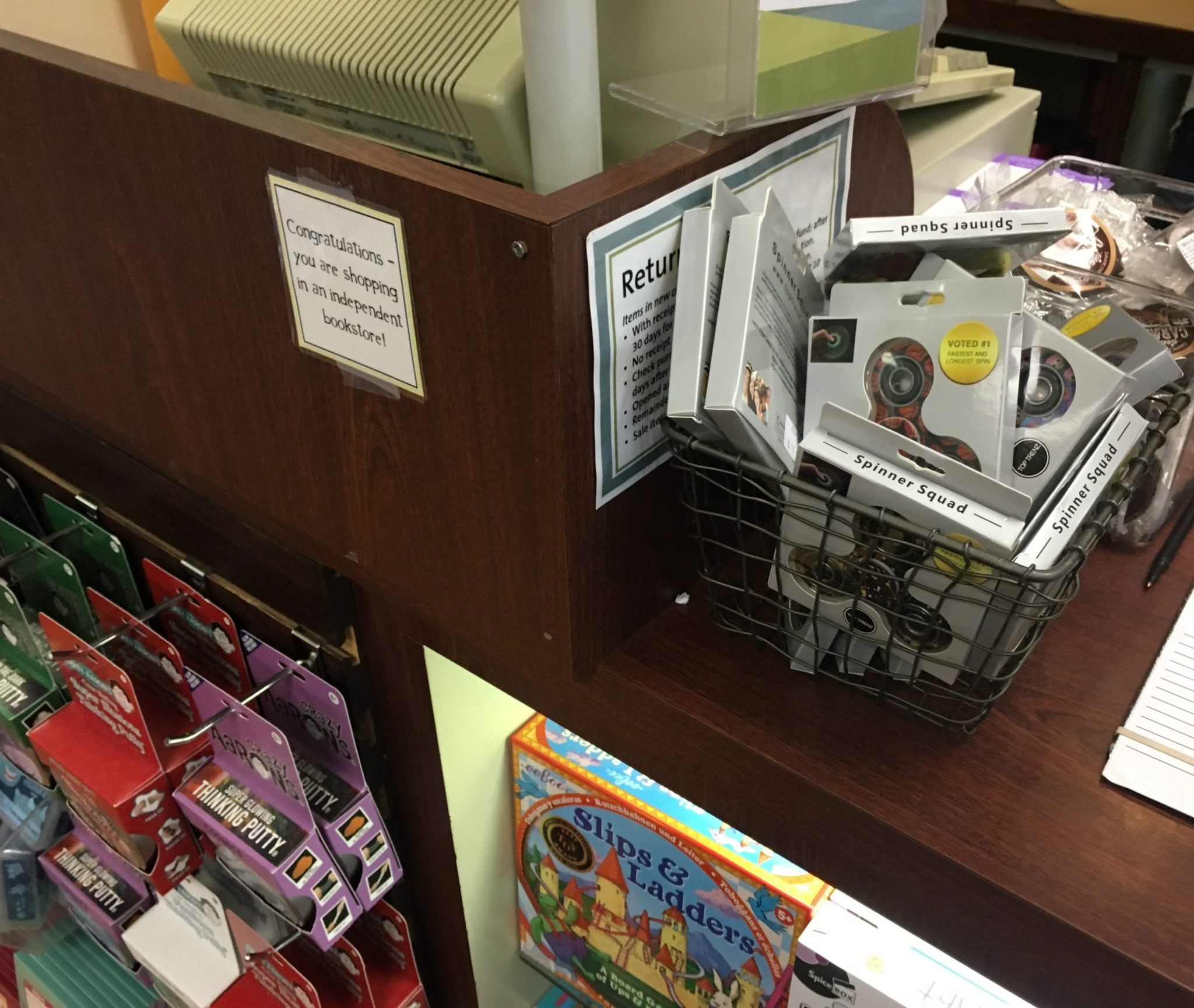 Fidget Spinners at Wellesley Books