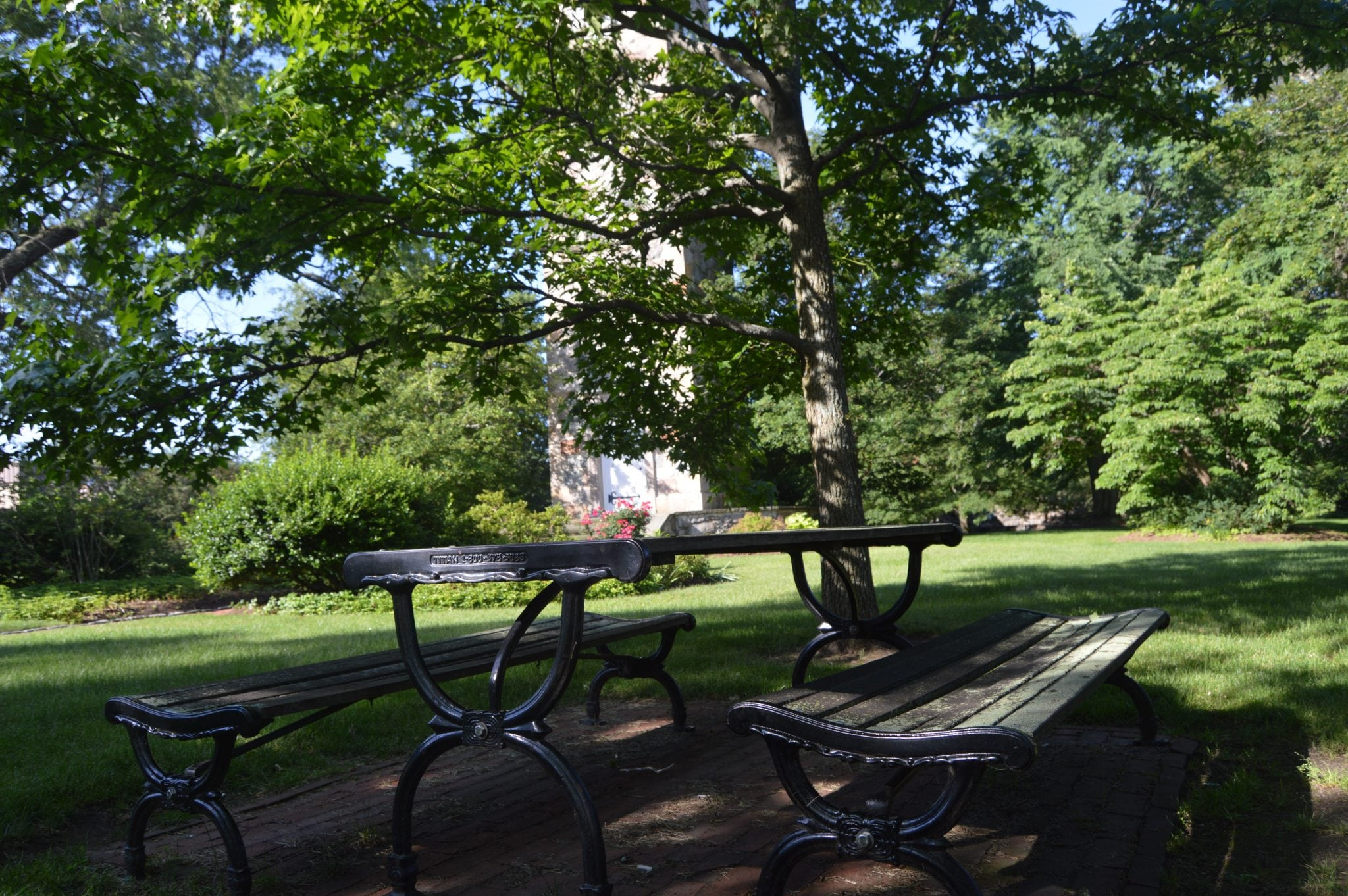 picnic table at elm park, wellesley hills, clocktower